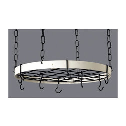 Rogar - Round Pot Rack in Classic White and Black Hoo - Color: Classic Black/WhiteGreat for smaller kitchens. Includes 6 Eye and 2 Grid Hooks. Classic White and Black Hooks. 20 in. L x 20 in. W x 2 in. H (6 lbs.)