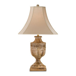 Currey and Company - Academy Table Lamp - This carved urn lamp has a unique whitewashed natural wood finish. The cut-corner square shade in beige completes the look.
