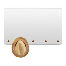 Blu Dot - Peggy Mirror by Blu Dot - A great-looking way to check out how great-looking you are. The Blu Dot Peggy Mirror is an expansive wall mirror, with five integrated solid walnut pegs along the bottom to keep your hats, scarves and other necessary accessories organized and at the ready. The Peggy Mirror is frameless, with a smooth radius cut edge for a finished look. In 1997, Blu Dot was established in Minneapolis by three college friends with a shared passion for art, architecture and design. Then and today, their goal is to bring good design to as many people as possible, collaborating to create modern home furnishings and accessories that are useful, affordable and exceedingly desirable.