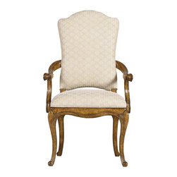 "Stanley Furniture - Arrondissement Volute Arm Chair - The head of the table deserves a seat as welcoming and distinguished as the Volute Arm Chair. Evoking classic 18th century French design with the chair's cabriole legs and antique brass nailhead trim, the design is worthy of your most-esteemed guest. FABRIC: Monarque Seat: 20 1/2"" W X 20 1/4"" D Arm height: 25"" H Made to order in America."