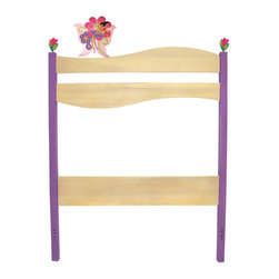 "Magic Garden Twin Headboard - A butterfly fairy and 2 pink tulips spring from the posts of this adorable headboard, made of birch wood finished with natural and bright colored stains. 42""H x 39""W.  Attaches with bolts to standard twin bed frames. 3 finials included."