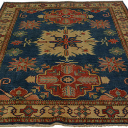 5'x8' Navy Tribal Design Kazakh Hand Knotted 100% Wool Oriental Rug Sh18247 - Our Tribal & Geometric hand knotted rug collection, consists of classic rugs woven with geometric patterns based on traditional tribal motifs. You will find Kazak rugs and flat-woven Kilims with centuries-old classic Turkish, Persian, Caucasian and Armenian patterns. The collection also includes the antique, finely-woven Serapi Heriz, the Mamluk Afghan, and the traditional village Persian rug.