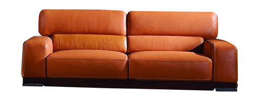 ESF Furniture - Genuine Italian Leather Sofa in Orange Finish - ESF Furniture - Original design solution in modern style for your living room. This attractive Genuine Italian Leather Sofa in Orange Finish will provide you perfect place for rest. Only the finest genuine Italian leather was used in creation of this top seller.