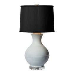 Thumprints - Saturn Table Lamp with High Gloss White Finish - - Zinc cast metal lamp with high gloss white finish  - Silk hardback drum shade  - Bulbs not included Thumprints - 1207-ASL-2137