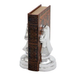 Metal Bookend with Solid Design and Stable Base - This attractive aluminum horse is designed on the model of a chess piece and can be displayed as a decorative art piece. The artistically sculpted horse features sharply finished contours and the bust of the horse is followed by a broad and large base offering perfect balance to the piece. Signifying agility and speed, this horse piece can be kept on display at chess and other sport tournaments to lend an air of competitiveness and sportsman spirit. The aluminum horse piece is much larger than the normal chess pieces, and is meant to symbolize the enchanting game of chess and the planning power of the brain it involves. There is a lot of expert craftsmanship involved in the making this horse that exudes shine and sparkle to add to the positive ambience. It is made of high quality aluminum, and is bestowed with excellent durability to grace your premises for a long time.. It comes with following dimensions