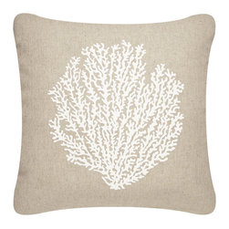 Modern Eco Indoor/Outdoor Pillows - Durable indoor/outdoor throw pillow covers hand printed with a delicate sea fan exemplifies beach decor. The modern design Sea Fan pillow adds eco style to your coastal outdoor living space. Designed, hand printed, and fabricated in America.