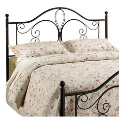 Hillsdale - Hillsdale Milwaukee Metal Headboard in Dark Brown Antique Finish-King - Hillsdale - Headboards - 1014670 - Create old-fashioned charm in traditional and classic bedrooms. Add the elegance of a Hillsdale Milwaukee Metal Headboard for touch of antique-inspired ambiance. This headboard is finished with a dark brown coating and comes in multiple sizes. Trust the sturdy welded frame around a sophisticated scroll-style design. The Milwaukee Metal Headboard is ideal for cottage and heritage themed rooms merging the best of contemporary construction with vintage pastoral character.