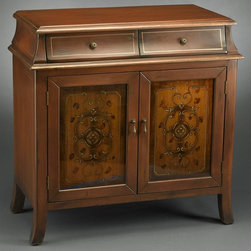 AA Importing - Stained 2-Door Inspired Cabinet in Brown Fini - 2 Drawers. 2 Doors. Wood construction. No assembly required. 33 in. L x 16 in. W x 33 in. H (68 lbs.)