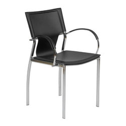 Eurostyle - Eurostyle Vinnie Arm Chair in Black Leather & Chrome [Set of 2] - Arm Chair in Black Leather & Chrome belongs to Vinnie Collection by Eurostyle Vinnie Leather Arm Chair with a modern and stunning look is easily going with any contemporary room or space. Upholstered leather seat, back and armrests, the Vinnie Arm Chair . The Chromed steel base provides a strong support. It is also available in various colors for your choose. Arm Chair (2)