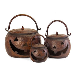 Imax Worldwide Home - Lidded Pumpkins - Set of 3 - Set of three lidded pumpkins featuring a handle and a hammered metal finish. 80% Sheet Iron, 20% Tube Iron