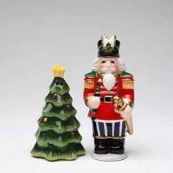CG - Standing Nutcracker in Uniform with Xmas Tree Salt and Pepper Shakers - This gorgeous Standing Nutcracker in Uniform with Xmas Tree Salt and Pepper Shakers has the finest details and highest quality you will find anywhere! Standing Nutcracker in Uniform with Xmas Tree Salt and Pepper Shakers is truly remarkable.