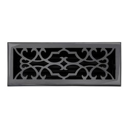 """Brass Elegans 120E DBZ Brass Decorative Floor Register Vent Cover - Victorian Sc - This dark bronze finish solid brass floor register heat vent cover with a victorian scroll design fits 4"""" x 12"""" x 2"""" duct openings and adds the perfect accent to your home decor."""