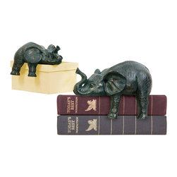 Sterling - Sterling 4-8527172 Sterling Set Of 2 Sprawling Elephants - Sterling 4-8527172 Sterling Set Of 2 Sprawling Elephants