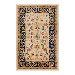 """Safavieh - Tilda Rug, Cream / Navy 2'6"""" X 4' - Construction Method: Power Loomed. Country of Origin: Turkey. Care Instructions: Vacuum Regularly To Prevent Dust And Crumbs From Settling Into The Roots Of The Fibers. Avoid Direct And Continuous Exposure To Sunlight. Use Rug Protectors Under The Legs Of Heavy Furniture To Avoid Flattening Piles. Do Not Pull Loose Ends; Clip Them With Scissors To Remove. Turn Carpet Occasionally To Equalize Wear. Remove Spills Immediately. The dramatic patterns of heirloom Serape, Sultanabad and Oushak rugs are recreated for 21st century lifestyles in the Austin Collection. Power-loomed of long-wearing, easy-care polypropylene, each rug stands up to heavy traffic while adding timeless beauty to entry hall, living room, kitchen and more."""