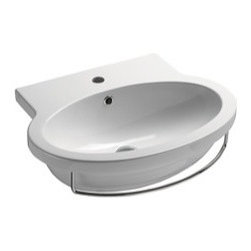 GSI - Oval Shaped Wall Mounted Ceramic Sink, One Faucet Hole - Beautiful wall mounted oval shaped bathroom sink perfect for your modern or contemporary bathroom settings. This sink is made out of high quality ceramic finished in white. It includes an overflow and the option for no faucet holes, one hole, or three holes. Made in Italy by GSI.