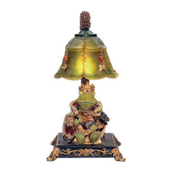 "Sterling Industries - Sterling Industries 91-331 Sterling Resting Queen Frog Mini Accent Table Lamp - Traditionally Frogs Represent Good Omens, Happiness And Great Friendships. The Sterling Resting Queen Frog Mini Lamp Relaxes Under The Shade Of A Flower That Holds (1) 15 Watt Candleabra Bulb. The Acrylic Beads And Decorative Butterfly Charms That Are Fastened Around The Flower Along With The Acrylic Beaded Sleeve That Surrounds The Pipe Add A Touch Of Whimsy And Charm. This Is A Fun And Quirky One-Of-A-Kind Night Light For A Bedside Table Or Tucked Away In A Small Corner Of The Living Room, Family Room, Den Or Library. Overall The Lamp Stands 12.25 Inches Tall And 10 Inches Long X 7 Inches Wide And The Shade Measures 3.5"" Tall X 6"" Long X 6"" Wide.   Lamp (1)"