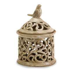 Imax - Small Vivienne Beige Bird Swirl Cutwork Lidded Jar Ceramic Decor - Small Vivienne beige bird swirl cutwork lidded jar ceramic living, dining and family room home accent decor