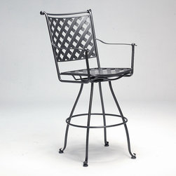 """Woodard - Maddox Swivel Bar Stool - The beauty and character of hand-formed metal, blended with intricate details, allows the Woodard Wrought Iron Collection to fit any style or taste. The Maddox Collection Swivel Bar Stool has a lattice seat and back for elegance and optional cushions for comfort, combining the durability and beauty of Woodard's authentic designs. Features: -Seat height: 29.5"""". -Overall dimensions: 49.8"""" H x 24"""" W x 30.5"""" D. -With arms. -Swivel seat. -Rust proof. -Optional cushions not included. -Available in a wide variety of finishes. -Suitable for commercial or residential use . About Woodard Wrought Iron Each Woodard frame is purified and dipped inot a bath of zinc phosphates (rust inhibitors) during our state-of-the-art MetalGuard finishing products. Wrought Iron frames are electrostatically coated, creating a permanent seal that locks out rust. They are also finished with the highest quality powder-coat paint finish for durability and beauty. Woodard continues to hand-craft each piece of wrought iron furniture-a tradition handed down through generations. Combining the heaviest available solid wrought iron stock with the best steel, our individual craftsmen use an anvil and hammer to forge the intricate details found on many Woodard frames. Woodard designers meticulously study each product style with the goal of preserving authentic designs. Fabrics are selected on the basis of quality, coloration, trend, and in some cases, historical significance. Finish choices range from colorations which are current in vogue to those who are traditional and timeless. Design integrity by Woodard is a reality-not a concept. Woodard Limited Warranty Woodard warrants to the original purchase (within the 50 United States and Canada) that the furniture you have selected is free from defects in material and workmanship for fifteen years for residential use of Classics and Aluminum collections, three years for residential use of Wicker and Table Top and commercial"""