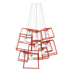 Iacoli & McAllister - Eleven Piece Frame Cluster, Tomato - Not all art hangs on a wall. Frame yourself in the best light with this striking fixture. Five medium and six small lights hang anywhere you need to make a sculptural statement, and come in a variety of colors.