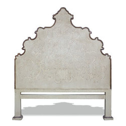 Koenig Collection - Old World French King Bed Patricia, Antiqued Cream - Old World French King Bed, Antiqued Cream with Scrolls,