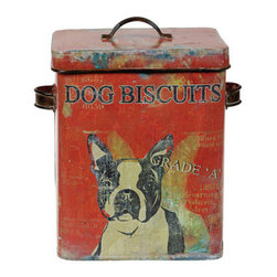 Dog Biscuit Canister - This vintage-style dog biscuit can is charming! I love the pop of red and the graphic of the Boston Terrier. And of course you don't have to use it for only dog biscuits!