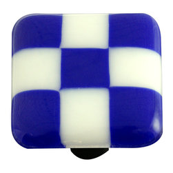 "Aquila Art Glass - Art Glass Checked Knob, Alum Post, Cobalt Blue White Squares - To make our cabinet knobs and pulls, 2 to 5 pieces of glass are cut, cleaned, stacked together and placed into a kiln. The kiln goes up to 1450 degrees Fahrenheit, the glass becomes molten and fuses together to make one piece of glass. The glass is then cut out out to the required shape. Next the glass is placed back into a kiln and taken to 1300 degrees fahrenheit and the edges are ""fire polished"". The glass spends about 48 hours in the kilns. Expect slight variations in color & size."