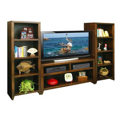 Legends Furniture - Urban Loft Entertainment Center - Includes TV stand and two bookcase piers. Limited lifetime warranty. Mocha finish. Made in USA. Floor to bottom clearance: 3.13 in. H. TV Stand:. Two upper storage compartments. Two center shelves. Two lower side compartments. Upper storage compartment: 23 in. W x 19 in. D x 6 in. H. Center shelf: 23.25 in. W x 19 in. D x 7.5 in. H. Lower storage compartment: 10.63 in. W x 19 in. D x 16.5 in. H. Overall: 52 in. W x 19.88 in. D x 30.13 in. H. Bookcase pier:. Four storage shelves on each pier. Shelf: 20 in. W x 15.75 in. D x 12.38 in. H. Overall: 24.5 in. W x 16.63 in. D x 60.13 in. H