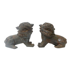 """Golden Lotus - Chinese Rustic Iron Fu Dog Figures, Set of 2 - Dimensions:  5"""" x 9"""" x h7"""" each"""