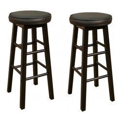 American Heritage - American Heritage Delta 24 Inch Counter Height Stool in Black (Set of 2) - A simple black on black stool that has a full swivel and a padded cushion. Perfect for any room of the house. What's included: Counter Height Stool (can only be purchased in sets of 2).