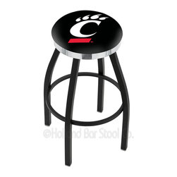 "Holland Bar Stool - Holland Bar Stool L8B2C - Black Wrinkle Cincinnati Swivel Bar Stool - L8B2C - Black Wrinkle Cincinnati Swivel Bar Stool w/ Chrome Accent Ring belongs to College Collection by Holland Bar Stool Made for the ultimate sports fan, impress your buddies with this knockout from Holland Bar Stool. This contemporary L8B2C logo stool has a single-ring black wrinkle base with a 2.5"" cushion and a chrome accent ring that helps the seat to ""pop-out"" at glance. Holland Bar Stool uses a detailed screen print process that applies specially formulated epoxy-vinyl ink in numerous stages to produce a sharp, crisp, clear image of your desired logo. You can't find a higher quality logo stool on the market. The plating grade steel used to build the frame is commercial quality, so it will withstand the abuse of the rowdiest of friends for years to come. The structure is powder-coated to ensure a rich, sleek, long lasting finish. Construction of this framework is built tough, utilizing solid mig welds. If you're going to finish your bar or game room, do it right- with a Holland Bar Stool. Barstool (1)"