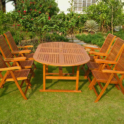 International Caravan - International Caravan Royal Tahiti Bilbao 7-Piece Patio Dining Set - Add style and comfort to your patio furnishings with the Blibao Patio Dining Set, featuring an extendable Oval Table for increased versatility, 5-position folding chairs for customized comfort, and a durable and sustainable Yellow Balau Hardwood build.