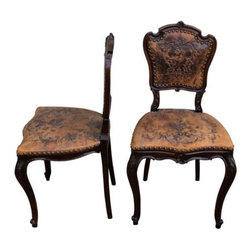 Chairs - Spanish 19th Century side chairs leather embossed walnut frames