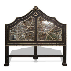 French Mirror Bed, Distressed Fresco Brown - French Mirror Bed, Distressed Fresco Brown