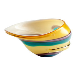 Cyan Design - Cyan Design Cali Contemporary Decorative Bowl - Large X-41160 - A swirling ribbon of color wraps around the entire body of this Cyan Design large decorative bowl. From the Cali Collection, this contemporary bowl features a vibrant sunshine yellow hue that pairs beautifully with accents of lavender, turquoise, teal-green and red.
