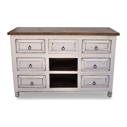 FoxDen Decor - White Distressed Vanity, 50x20x32 - This white distressed vanity is made from old, reclaimed wood and then painted in a white distressed finish. The old wood has obvious marks of use, which gives this piece a lot of character. The vanity is intended for a sink in the center, so we leave the middle drawer false. The hardware is a handmade rustic ring pull that compliments the piece.