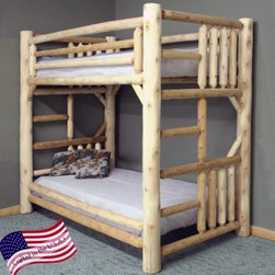 Lakeland Mills Rustic Twin over Twin Bunk Bed - Nature-inspired furniture like the Rustic Twin over Twin Bunk Bed has a way of making us feel right at home. Ideal for a guest room or child's bedroom this rugged bunk bed provides sleeping space for two in the floor space of a single twin bed. Made in the USA it's built with solid northern white cedar using quality craftsmanship for lasting strength. All three finish options (clear light honey or unfinished) maintain an authentic wood appearance that can coordinate with girl or boy bedding styles. Guard rails help keep the top sleeper safe while two built-in ladders - one on either side - make it easy to climb up and down without cluttering up the room. A convenient way to add sleeping space and rustic style to your home this twin over twin bunk bed meets CPSC (Consumer Product Safety Commission) safety requirements and ships partially assembled with easy-to-follow directions. A fabric-covered bunkie board is included for reliable mattress support. Mattresses not included. We take your family's safety seriously. That's why all of our bunk beds come with a bunkie board slat pack or metal grid support system. These provide complete mattress support and secure the mattress within the bunk bed frame. Please note: Bunk beds and loft beds are only to be used by children 6 years of age or older. About Lakeland Mills Inc.Since its founding in 1923 in Holly Mich. Lakeland Mills Inc. has expanded into a rapidly growing manufacturer of a wide variety of furniture. Now located in Edmore Mich. the company's 113 000-square-foot plant produces everything from bedroom furniture and living room sets to Adirondack chairs and pergolas. Lakeland Mills attributes its success to innovative designs and extraordinary customer service.