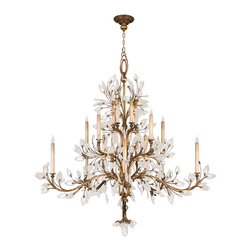 Fine Art Lamps - Crystal Laurel Gold Chandelier, 774540ST - If you've got a craving for crystals, this chandelier is sure to satisfy. Gleaming faceted leaves adorn graceful, antiqued silver- or gold-finished boughs to magnificent effect.