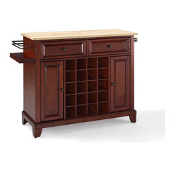 Crosley Furniture - Crosley Furniture Newport Natural Wood Top Wine Island in Vintage Mahogany - Wine lovers will entertain in style with Crosley's Kitchen Wine Cart.  Whether you're a connoisseur of fine wines or simply a casual fan, Crosley's Kitchen Wine Cart offers the utmost in entertaining convenience.  The cabinet features a 20-bottle wine rack and side-mounted 3-bottle wine valet and the top provides ample surface space for presentation of your wine and cheese alike. Raised panel doors conceal the adjustable inner shelving and two sliding drawers provide several options for storage. Wine cabinets come in one of four signature Crosley finishes featuring one of four surfaces - including wood, stainless steel or solid granite.
