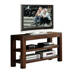 Riverside Furniture - Riverside Furniture Castlewood Open Console Table/TV Stand in Warm Tobacco - Riverside Furniture - Console Tables - 33516 - Riverside's products are designed and constructed for use in the home and are generally not intended for rental, commercial, institutional or other applications not considered to be household usage.