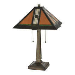 Meyda Tiffany - Meyda Tiffany MD-119654 Parquet Mission Table Lamp - Simple clean lines and geometric shapes are the hallmark of the Mission style. This sleek Praire School design stained glass shade features a simple, elegant linear pattern in Honey Beige accented with Grass Green and Root Beer borders. Hand cut pieces of glass are wrapped in copperfoil and soldered together in the Tiffany tradition to make this handsome shade. The pyramid shaped shade is supported by a coordinated antique finished mission styled 2 light table base.