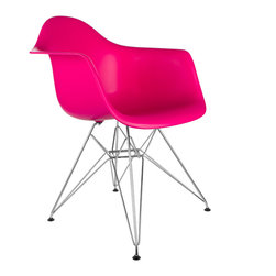 "Eiffel Arm Chair in Fuchsia - Some designs were ahead of their time. Considered the chair of tomorrow for both its design and its innovative single-mold manufacturing process, one of the most iconic mid-century furniture designs inspired the fuchsia Eiffel Arm Chair. Created in the spirit of economy and affordability, its unique shape spreads the sitter's weight and pressure evenly. The deep seat and waterfall edge provide additional comfort as the design shapes itself around the body's curves, while the chrome eiffel-style base adds visual interest and stability. If you've done away with formality in your home, the Eiffel Arm Chair is that one piece of furniture that exemplifies the ""less is more"" ethos. It's the ultimate seat that goes well in a variety of different settings: as a home office chair, an entryway slipper seat, or that one statement piece in the living room."