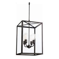 Arteriors - Savannah Bronze Pendant - What a bright, lively way to add light to your favorite setting. A lantern of bronze-finished iron and glass encases a simple four-armed chandelier.