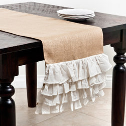 None - Ruffle Design Jute Table Runner - Add a touch of understated elegance to kitchen decor with this beautiful table runner featuring a unique design and puffy ruffles. The beautiful runner adds a distinctive style to contemporary decor.