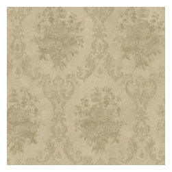 Dutchess Olive Floral Damask Wallpaper Bolt - A romantic vintage wallpaper pattern with a sophisticated silk polish in a warm olive gold hue.