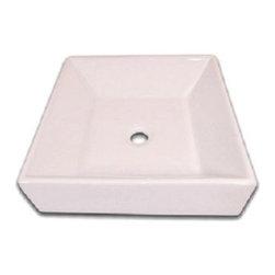 Flotera - White Thick Edge European Square Ceramic Bathroom Vessel Sink - Description: