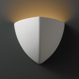 """Justice Design Group - Justice Design Group CER-1800 Single Light 7"""" Small Ambis Interior Wall Sconce R - Ambiance 7"""" Small Ambis Interior Wall Sconce Rated for Damp Locations from the Ceramic CollectionThis transitional 7"""" wall sconce from the Ambiance Collection is rated for damp locations and interior use.   For your convenience this sconce is offered in a multitude of finishes and the unfinished ceramic finish option (Bisque) is paintable, allowing you to customize this fixture to suit any interior.  The open top of this fixture allows light to wash up your walls while the multiple lamping options allow you to design this sconce to fit your lighting needs.From an elegant lamp atop a contemporary end table to a dramatic sconce illuminating a formal entryway, Justice Design offers a wide array of lighting solutions for residential and commercial settings. Create a mood, complement a theme, or simply add the perfect accent with a Justice Design decorative lighting fixture.  With over 200 different shapes and more than 35 different finishes, you can customize our fixtures to suit any decor. From paintable Bisque to faux finished masterpieces hand crafted by skilled artisans, Justice Design offers endless design possibilities for any environment - indoor or outdoor."""