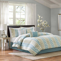 Home Essence - Home Essence Elle 7 Piece Comforter Set - The Elle collection will give any bedroom a clean and modern look. The comforter and sham features a simple aqua blue leaf motif against a white ground and reverses to a solid light seafoam green color. A solid light aqua blue color bedskirt is included. Three decorative pillows are included to give texture and dimension. Comforter& sham face: 100% polyester micro fiber 75gsm print. Reverse: polyester microfiber 75gsm solid. Comforter with 200gsm poly fill. Bedskirt: non woven platform and micro fiber 75gsm drop; Pillow: 100% polyester cover with poly fill.