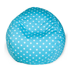 Majestic Home - Indoor Aquamarine Small Polka Dot Small Bean Bag - Dots on the outside, beans on the inside — this groovy classic is perfect for your favorite casual setting. It's sure to become the best seat in the house, but relax! The durable cotton twill slipcover zips of for machine washing.