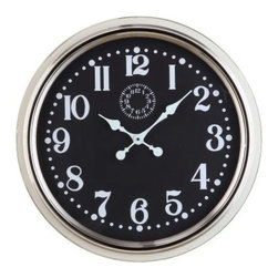 Fillmore Oversized 24.5 in. Wall Clock - Modern with a touch of retro chic, the Fillmore Oversized Wall Clock - 24.5 diam. In. will complement an array of decor. Its easy-read analog numbers are protected under clear glass framed by polished nickel. This piece features highly accurate quartz movement and runs on one AA battery, which is not included.About Cooper ClassicsCooper Classics was founded over 50 years ago and is currently operated by the third generation of the Cooper family. Their production and warehousing facilities are located in the Blue Ridge Mountains of Virginia, where they produce uniquely styled mirrors and accessory furniture. Because of their extensive background in wood product manufacturing, they excel in the design and production of solid wood mirror frames and furniture. Cooper's commitment to their customers is to provide products with outstanding quality and styling while maintaining a competitive price.