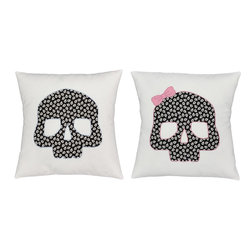 RoomCraft - Skulls Throw Pillow Covers 16x16 White Glow-In-Dark Shams - FEATURES: